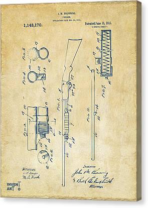 1915 Ithaca Shotgun Patent Vintage Canvas Print by Nikki Marie Smith