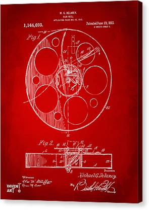 Theatre Canvas Print - 1915 Movie Film Reel Patent Red by Nikki Marie Smith