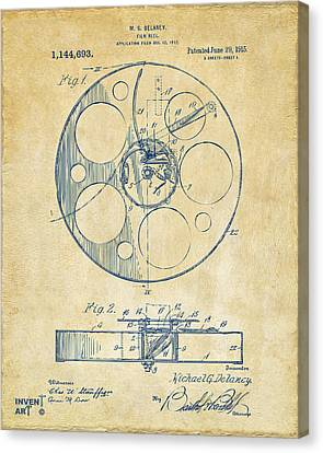 Theatre Canvas Print - 1915 Movie Film Reel Patent Vintage by Nikki Marie Smith