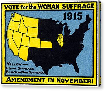 1915 Vote For Women's Suffrage Canvas Print by Historic Image