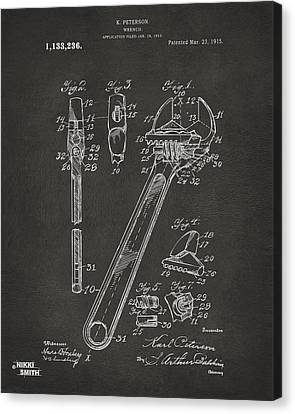1915 Wrench Patent Artwork - Gray Canvas Print by Nikki Marie Smith