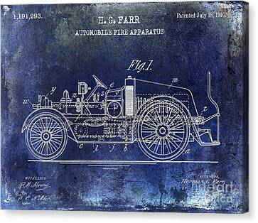1916 Automobile Fire Apparatus Patent Drawing Blue Canvas Print