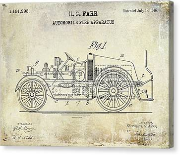 1916 Automobile Fire Apparatus Patent Drawing Canvas Print
