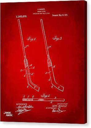1916 Hockey Goalie Stick Patent Artwork - Red Canvas Print by Nikki Marie Smith