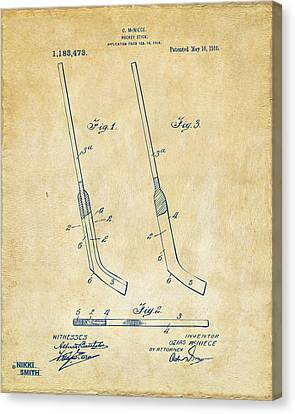 1916 Hockey Goalie Stick Patent Artwork - Vintage Canvas Print by Nikki Marie Smith