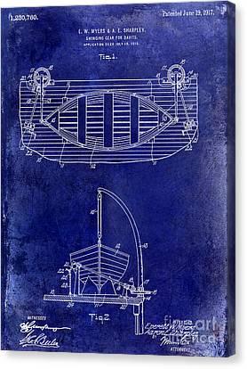 1917 Davit Patent Drawing Blue Canvas Print by Jon Neidert