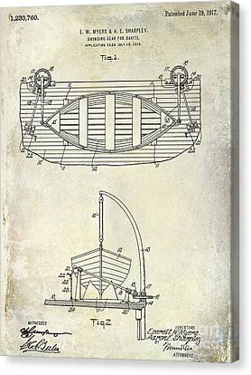 1917 Davit Patent Drawing  Canvas Print by Jon Neidert