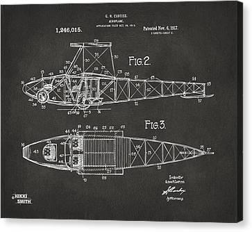 1917 Glenn Curtiss Aeroplane Patent Artwork 2 - Gray Canvas Print by Nikki Marie Smith