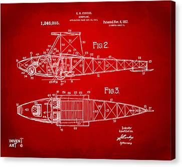 1917 Glenn Curtiss Aeroplane Patent Artwork 2 Red Canvas Print by Nikki Marie Smith