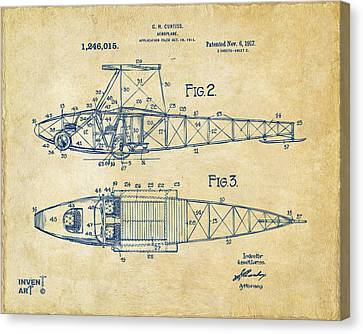 1917 Glenn Curtiss Aeroplane Patent Artwork 2 Vintage Canvas Print by Nikki Marie Smith