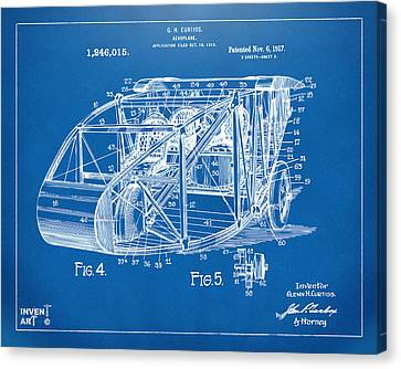 1917 Glenn Curtiss Aeroplane Patent Artwork 3 Blueprint Canvas Print by Nikki Marie Smith