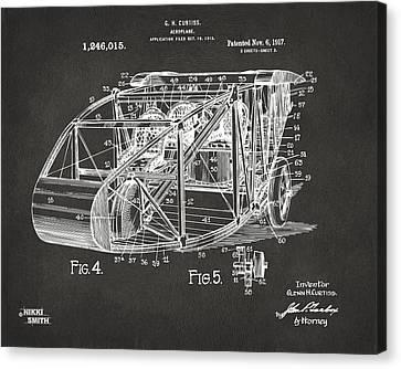 1917 Glenn Curtiss Aeroplane Patent Artwork 3 - Gray Canvas Print by Nikki Marie Smith