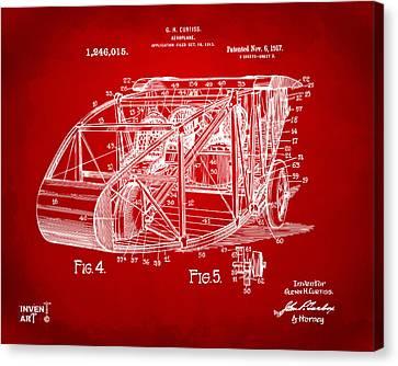 1917 Glenn Curtiss Aeroplane Patent Artwork 3 Red Canvas Print by Nikki Marie Smith