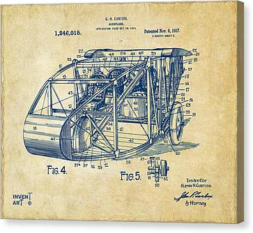 1917 Glenn Curtiss Aeroplane Patent Artwork 3 Vintage Canvas Print by Nikki Marie Smith