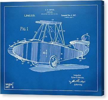 1917 Glenn Curtiss Aeroplane Patent Artwork Blueprint Canvas Print by Nikki Marie Smith