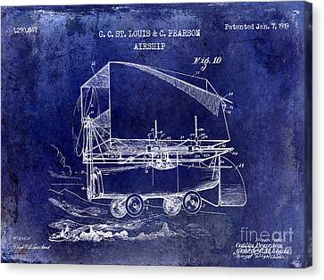 1919 Airship Patent Drawing Blue Canvas Print by Jon Neidert