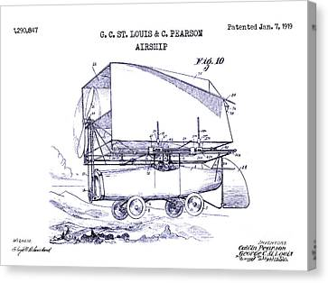 1919 Airship Patent Drawing Blueprint Canvas Print by Jon Neidert
