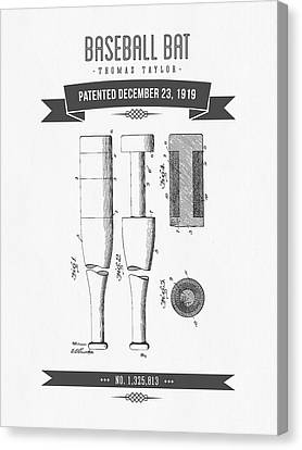1919 Baseball Bat Patent Drawing Canvas Print by Aged Pixel