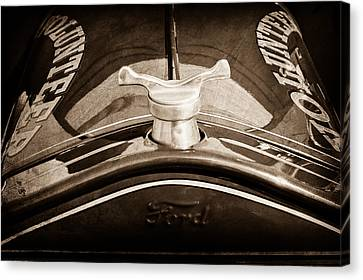 Truck Canvas Print - 1919 Ford Volunteer Fire Truck Hood Ornament by Jill Reger