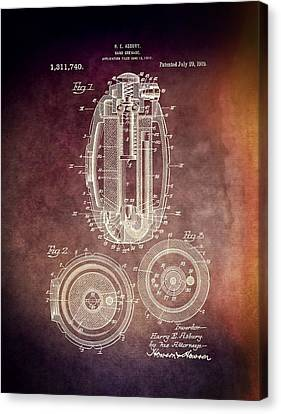 1919 Hand Grenade Patent Canvas Print by Dan Sproul