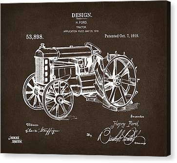 Tractors Canvas Print - 1919 Henry Ford Tractor Patent Espresso by Nikki Marie Smith