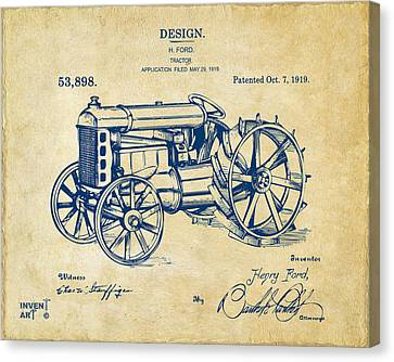 Tractors Canvas Print - 1919 Henry Ford Tractor Patent Vintage by Nikki Marie Smith