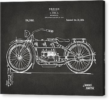 1919 Motorcycle Patent Artwork - Gray Canvas Print