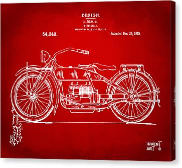 1919 Motorcycle Patent Red Canvas Print by Nikki Marie Smith