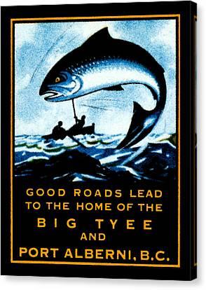 1920 British Columbia Fishing Canvas Print by Historic Image