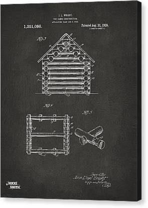 1920 Lincoln Log Cabin Patent Artwork - Gray Canvas Print by Nikki Marie Smith