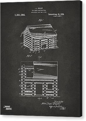 1920 Lincoln Logs Patent Artwork - Gray Canvas Print by Nikki Marie Smith