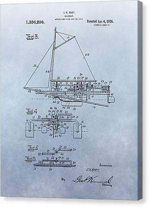 1920 Sailboat Patent Canvas Print by Dan Sproul