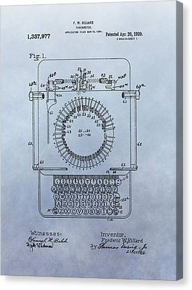Typewriter Keys Canvas Print - 1920 Typewriter Patent by Dan Sproul