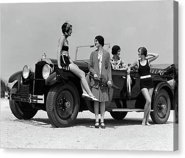 Black Top Canvas Print - 1920s 1930s Four Women by Vintage Images