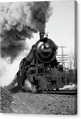 Fast Ball Canvas Print - 1920s 1930s Steam Engine Pulling by Vintage Images
