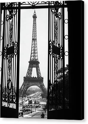 Trocadero Canvas Print - 1920s Eiffel Tower Built 1889 Seen by Vintage Images