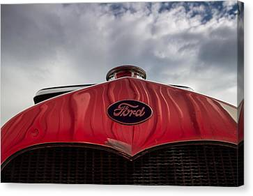 1920s Ford Emblem Against Sky Canvas Print