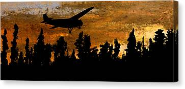 1920's Ford Trimotor Airplane Skims Treetops Canvas Print