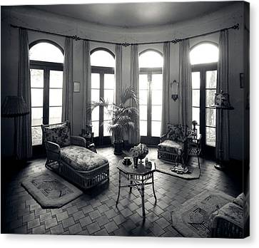 French Door Canvas Print - 1920s Interior Upscale Solarium French by Vintage Images