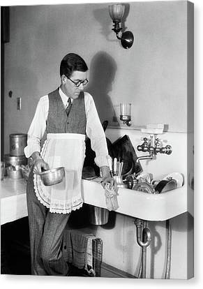 Washing Machine Canvas Print - 1920s Man In Apron Leaning On Sink Full by Vintage Images