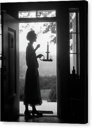 Anticipation Canvas Print - 1920s Silhouette Of Anonymous Woman by Vintage Images