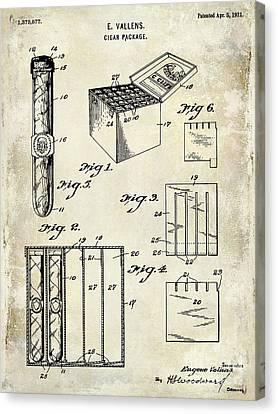 1921 Cigar Package Patent Drawing  Canvas Print by Jon Neidert