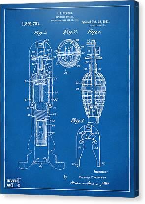 1921 Explosive Missle Patent Blueprint Canvas Print by Nikki Marie Smith