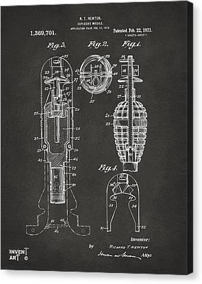 1921 Explosive Missle Patent Gray Canvas Print