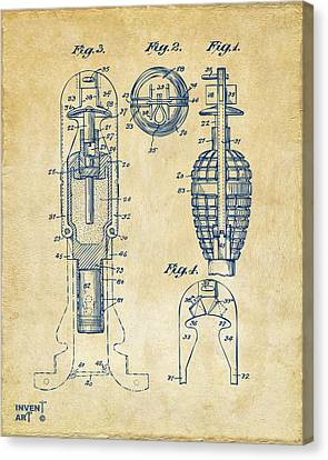 1921 Explosive Missle Patent Minimal Vintage Canvas Print