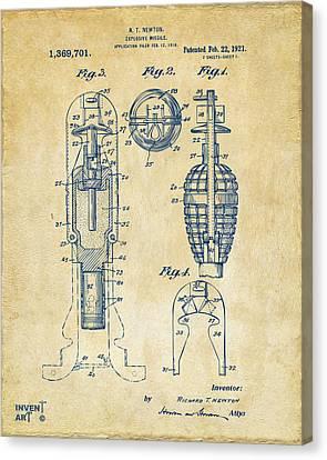1921 Explosive Missle Patent Vintage Canvas Print