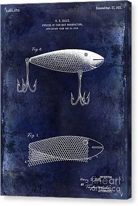 1921 Fish Bait Patent Drawing Blue Canvas Print by Jon Neidert