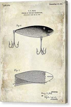 1921 Fish Bait Patent Drawing Canvas Print by Jon Neidert