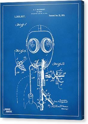 1921 Gas Mask Patent Artwork - Blueprint Canvas Print by Nikki Marie Smith