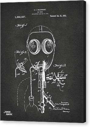 1921 Gas Mask Patent Artwork - Gray Canvas Print by Nikki Marie Smith